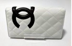 【送料無料】シャネル カンボンライン 二つ折り 長財布 ホワイト 白 ブラック 黒 A26717【中古】かんてい局亀有店
