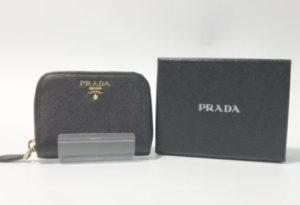 プラダ コインケース PRADA 財布 小銭入れ ラウンドファスナー サフィアーノ レザー 黒 ブラック【中古】