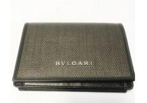 ブルガリ グレー/ブラック コーティングキャンバス/カーフレザー 32588 カードケース 【中古】